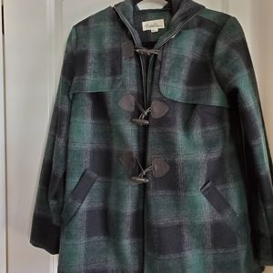 Green and black flannel hooded print toggle coat